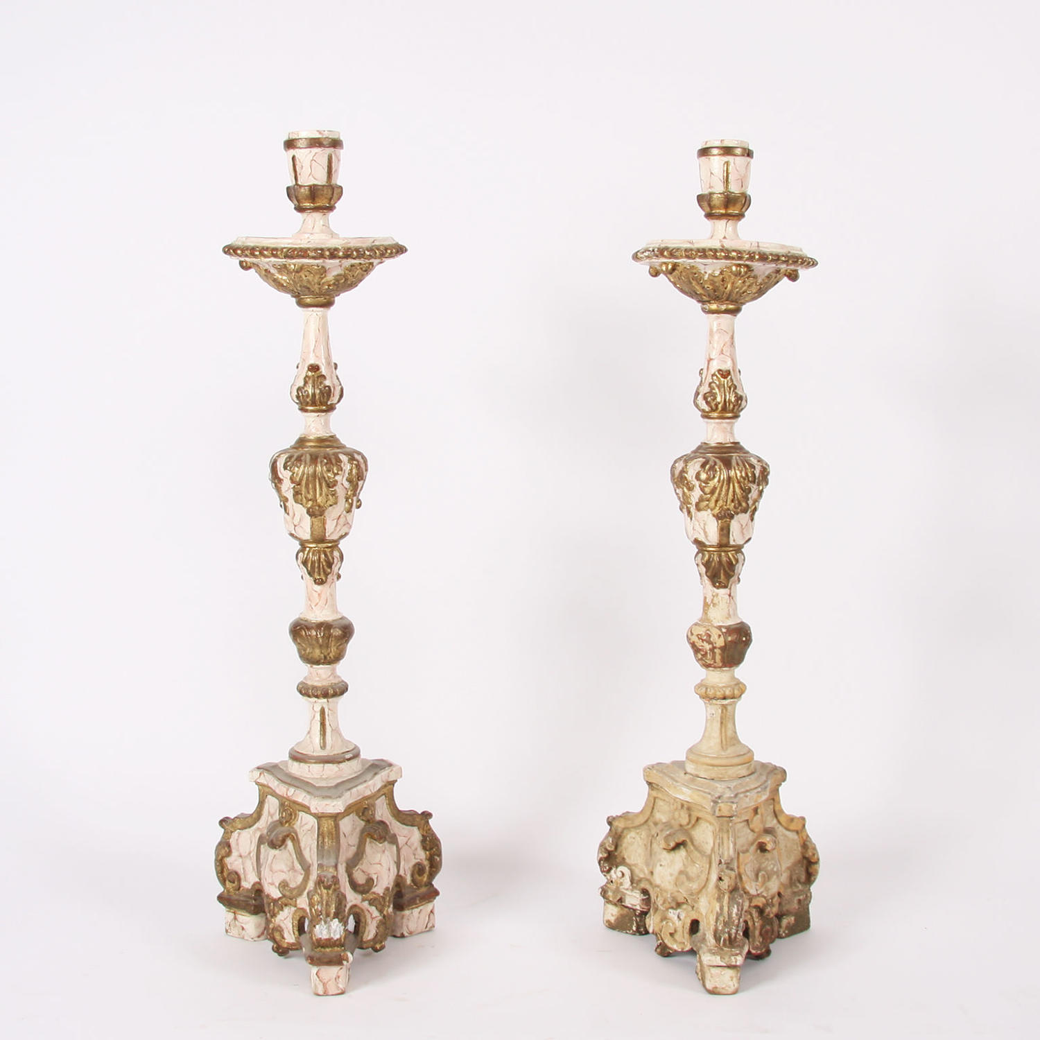 Carved Wood Cream and Gold Altar CandleSticks