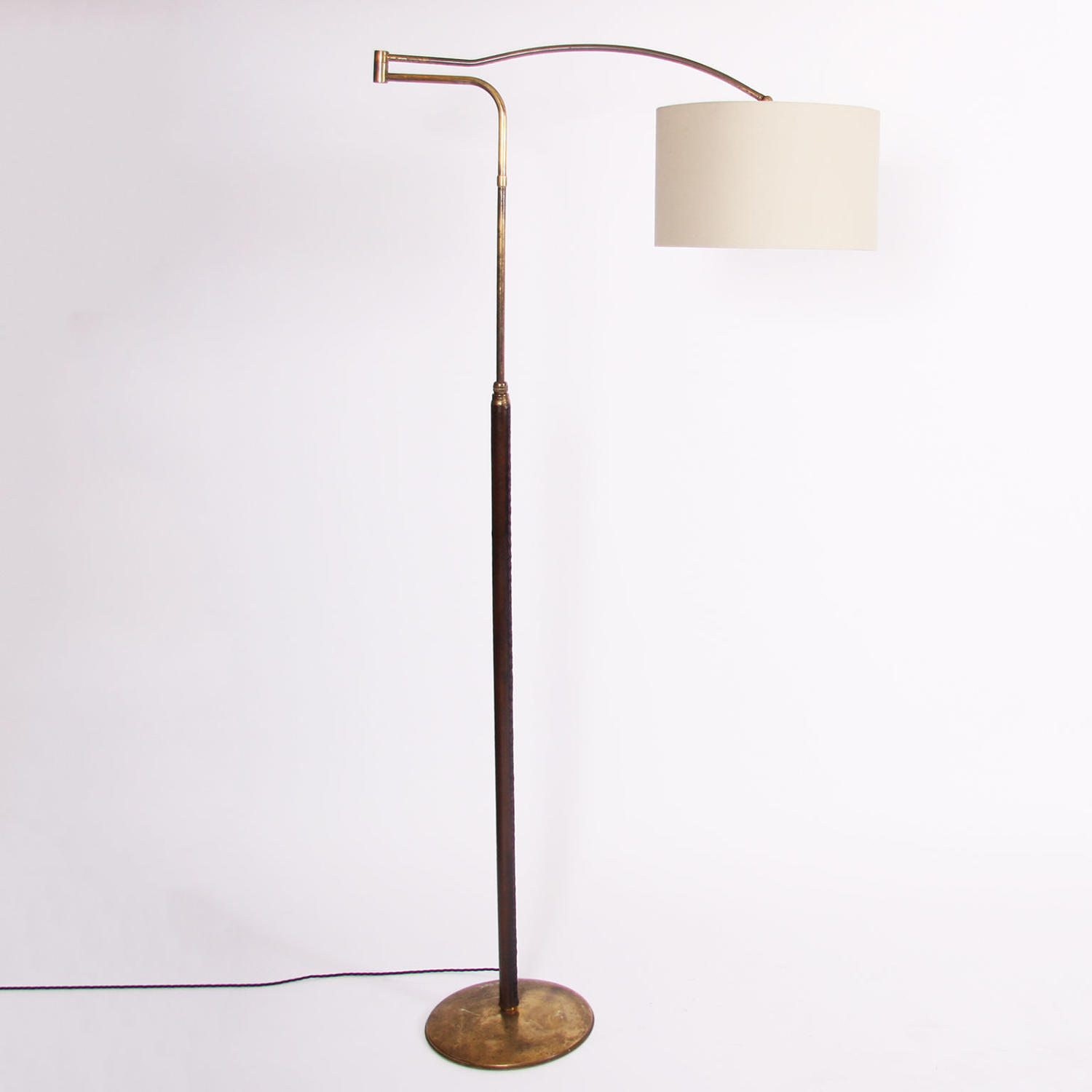 Tall Brass & Leather-Covered Swing Arm Floor Lamp
