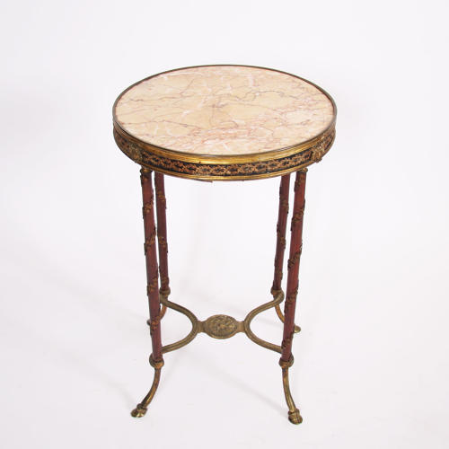Single Galleried Gueridon with Marble Top
