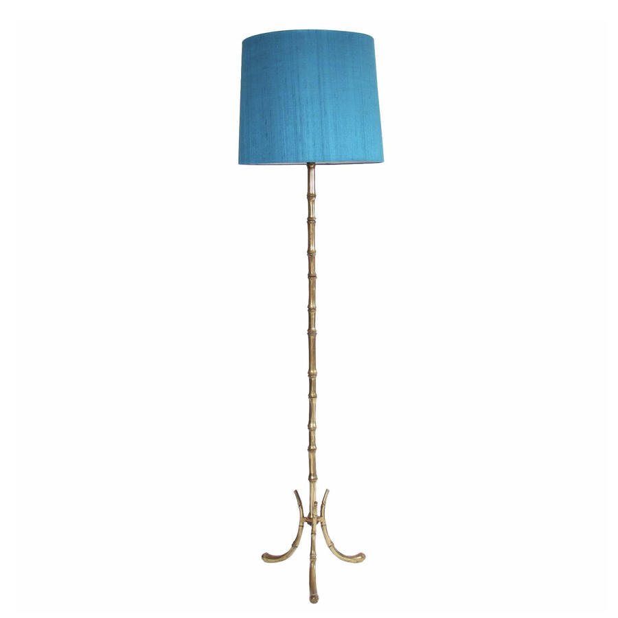 Brass Faux Bamboo Floor Lamp