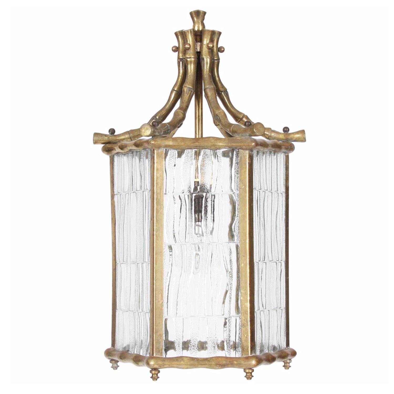 Faux Bamboo Brass Lantern