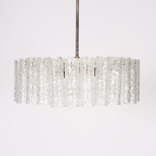 Doria Leuchten Ice Glass & Chrome Pendant Light