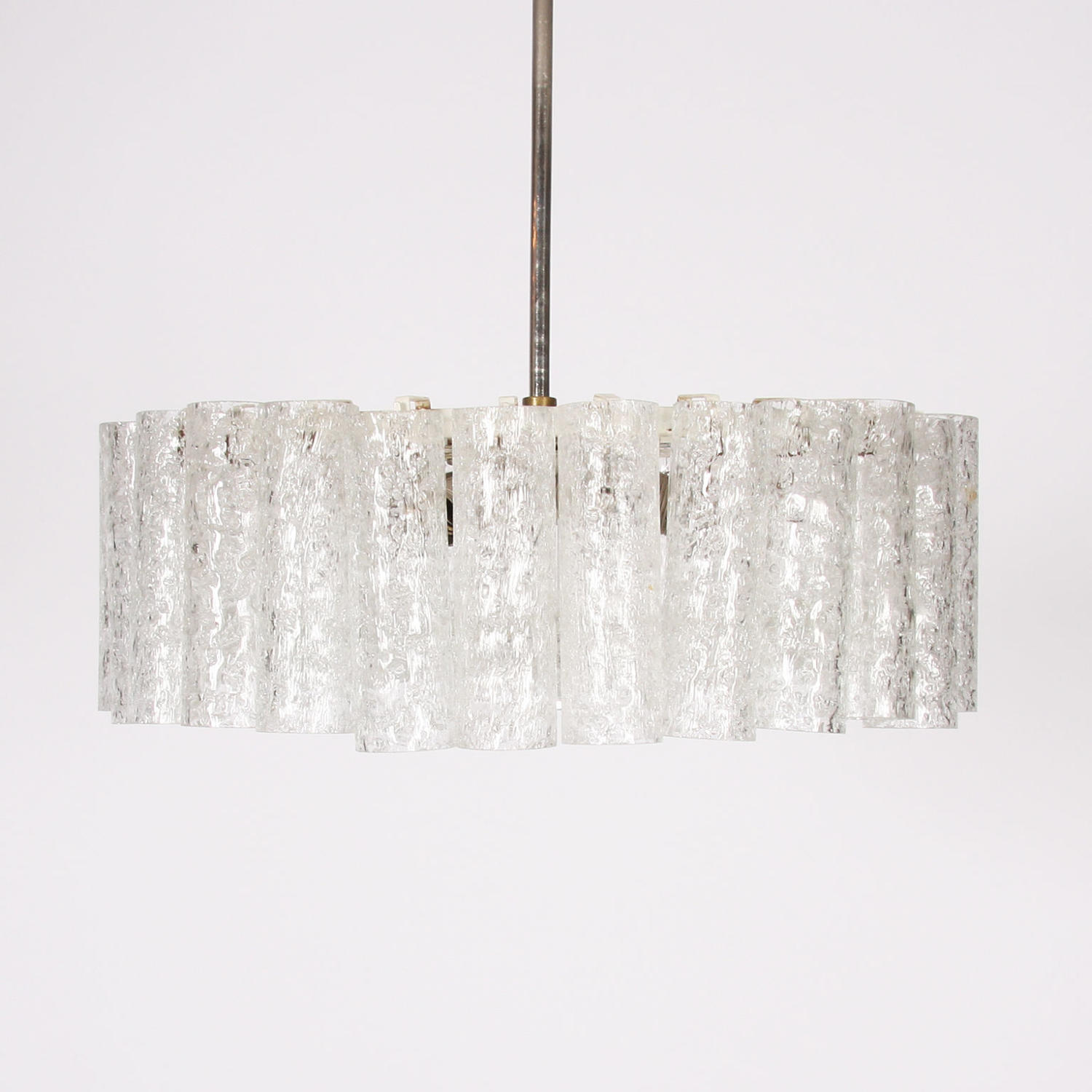 Doria Leuchten Ice Glass & Chrome Pendant Light