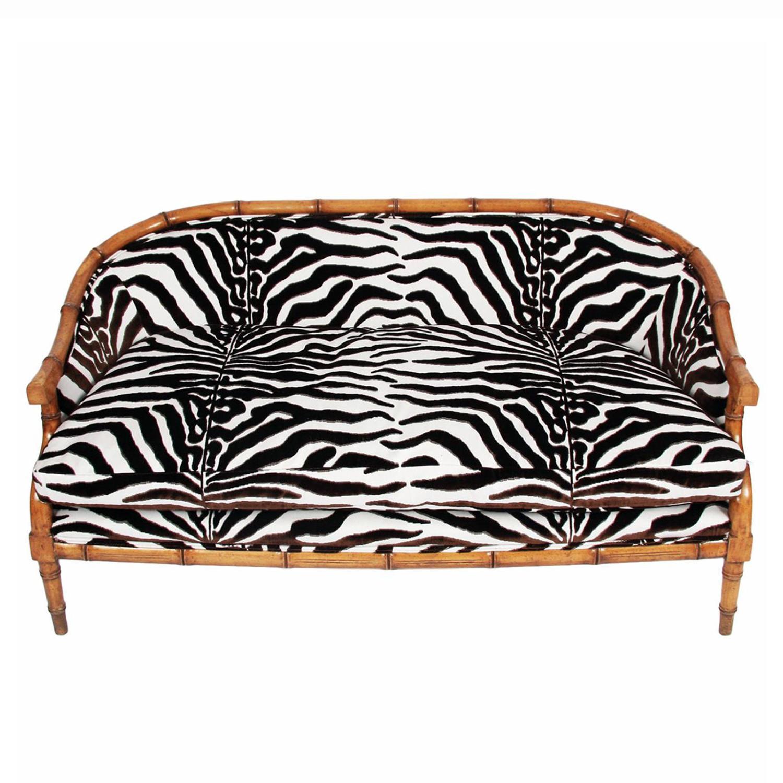 Faux Bamboo & Zebra Print Sofa