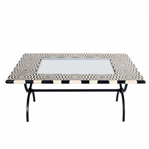 1980s Black and White Marble Top Table