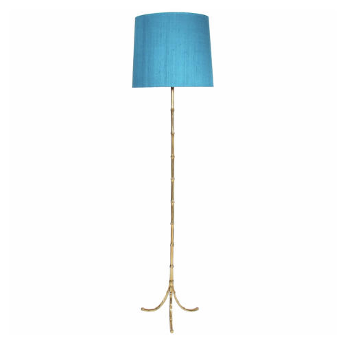 Brass 1960s Faux Bamboo Floor Lamp
