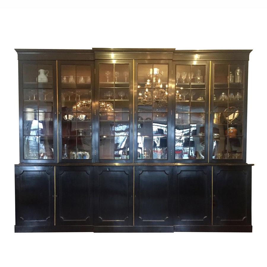 English Ebonised Breakfront Cabinet