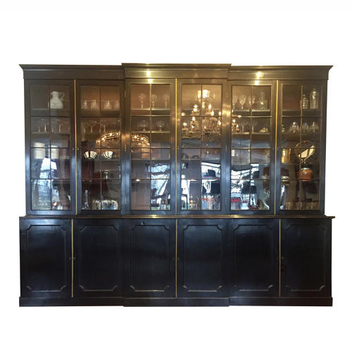 English Ebonised Breakfront Cabinet