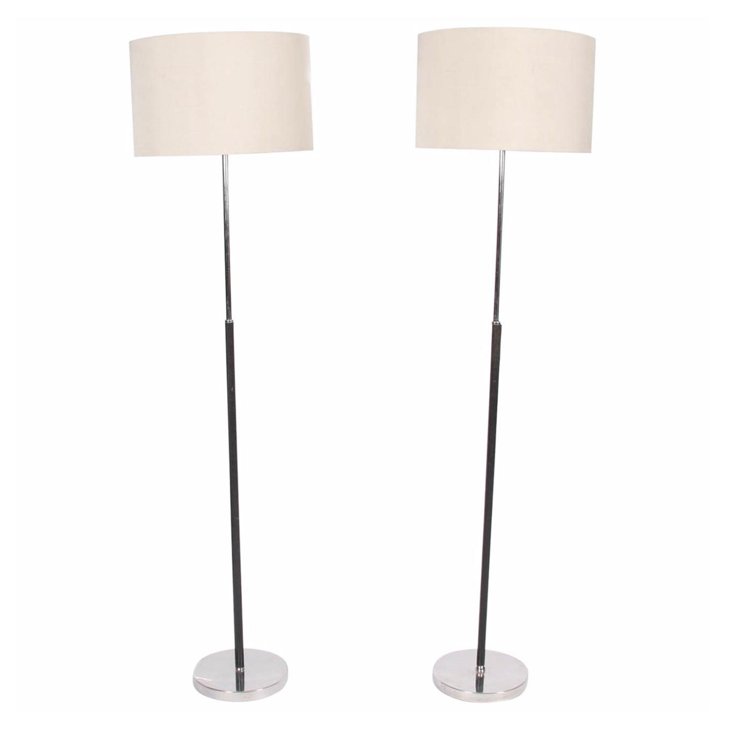 Pair of Black Leather and Chrome Floor Lamps