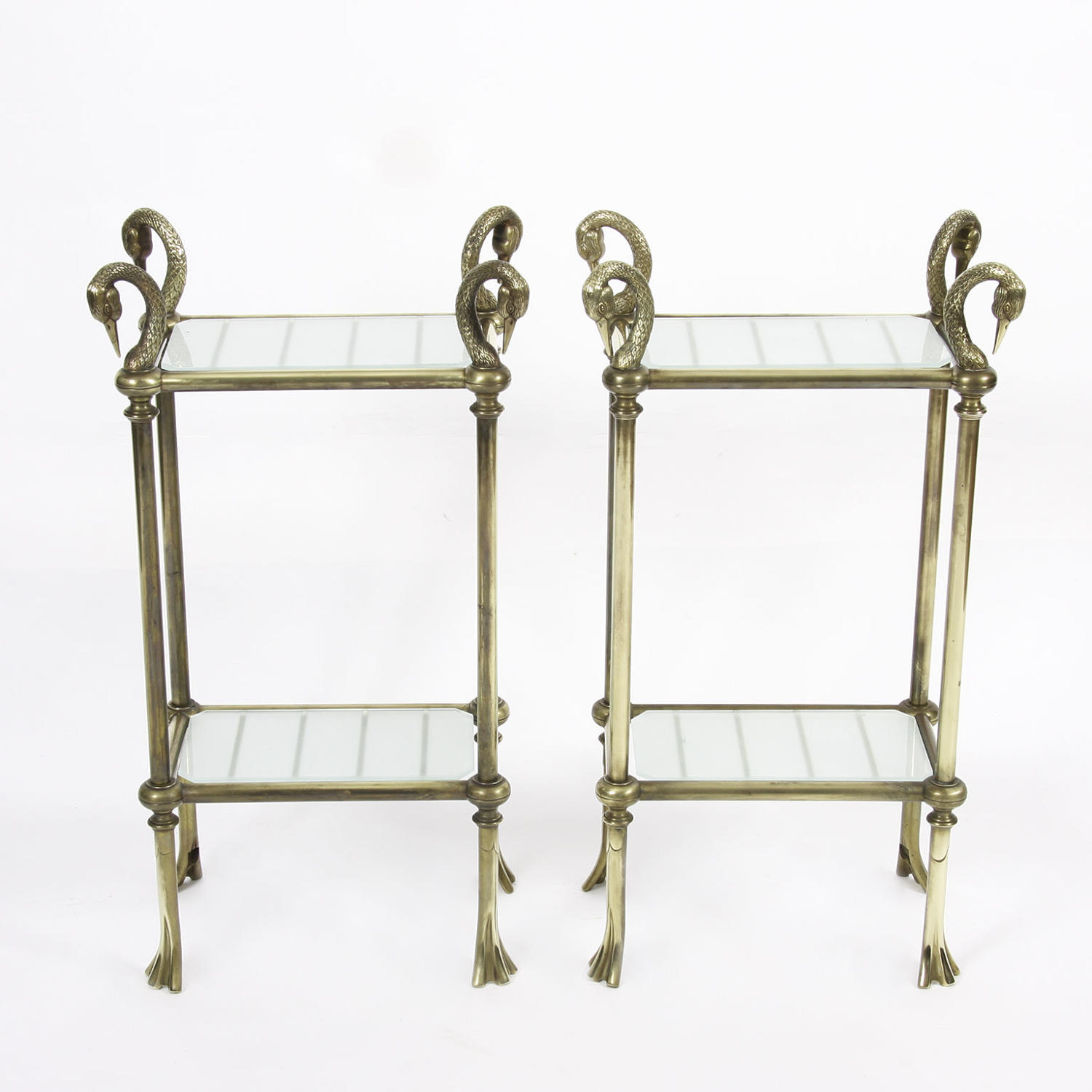 Pair of Swan Side Tables with Brass and Frosted Glass