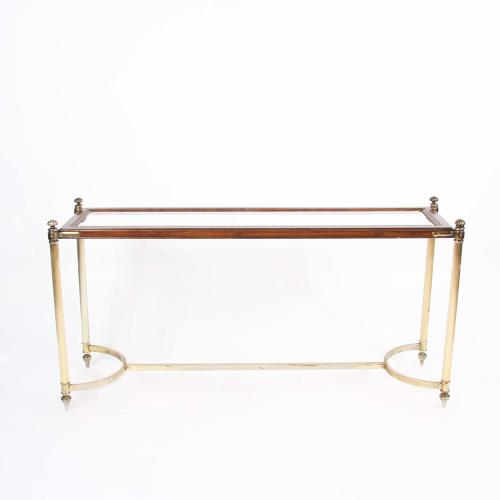 Gilt Metal and Wood Console Table with Glass Shelves