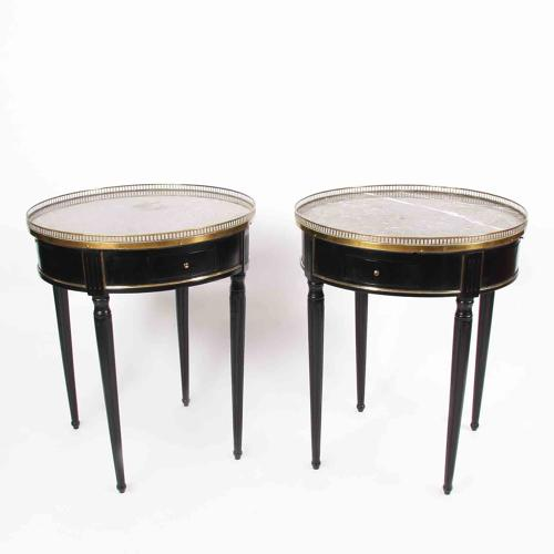 Pair of Black Bouillotte Tables with Marble Tops