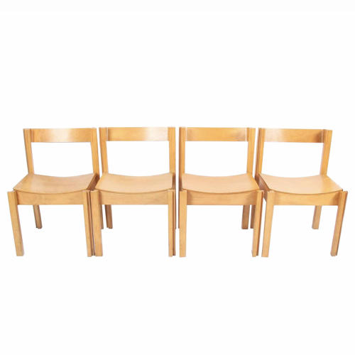 Set of Four Modernist Bent Ply and Beech Chairs
