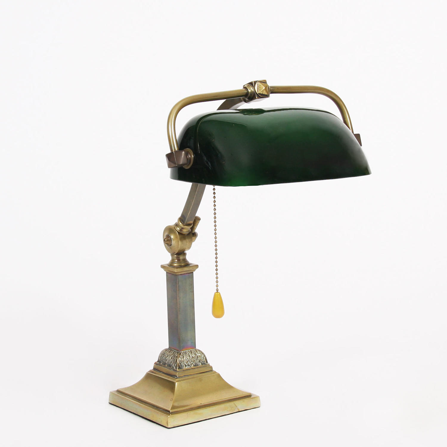 Brass and Green Glass Shade Desk Lamp