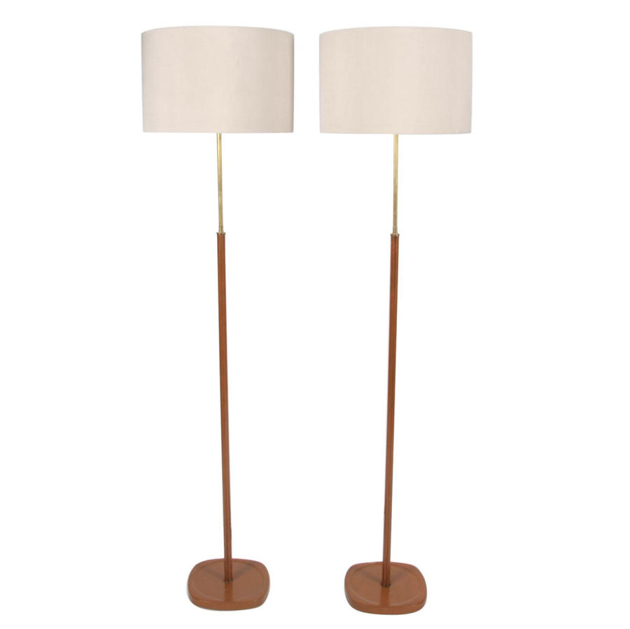 Pair of Tan Leather Floor Lamps