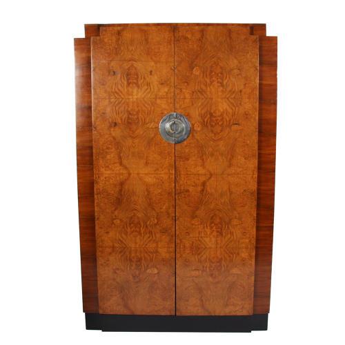 Burr Walnut Wardrobe and Hanging Cabinet