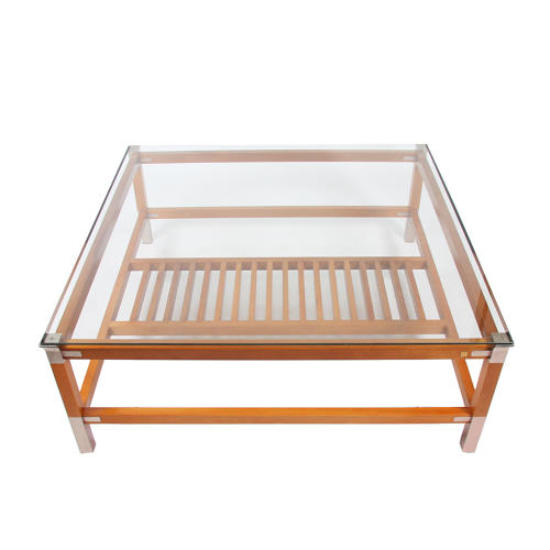 Large Square Hardwood and Steel Coffee Table