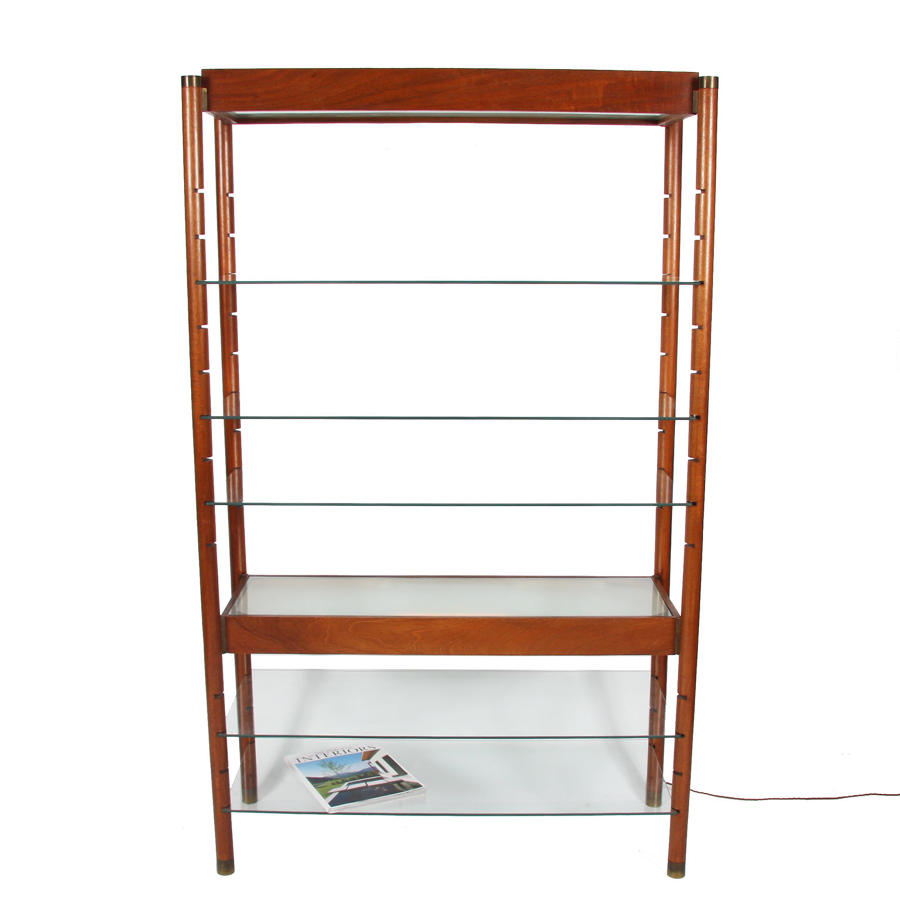 Lit Wooden and Glass Bookshelf