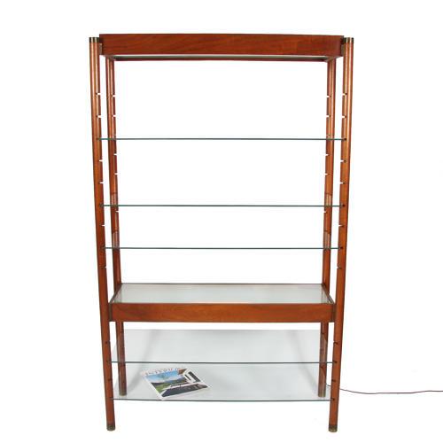 Lit Wooden and Glass Bookshelf
