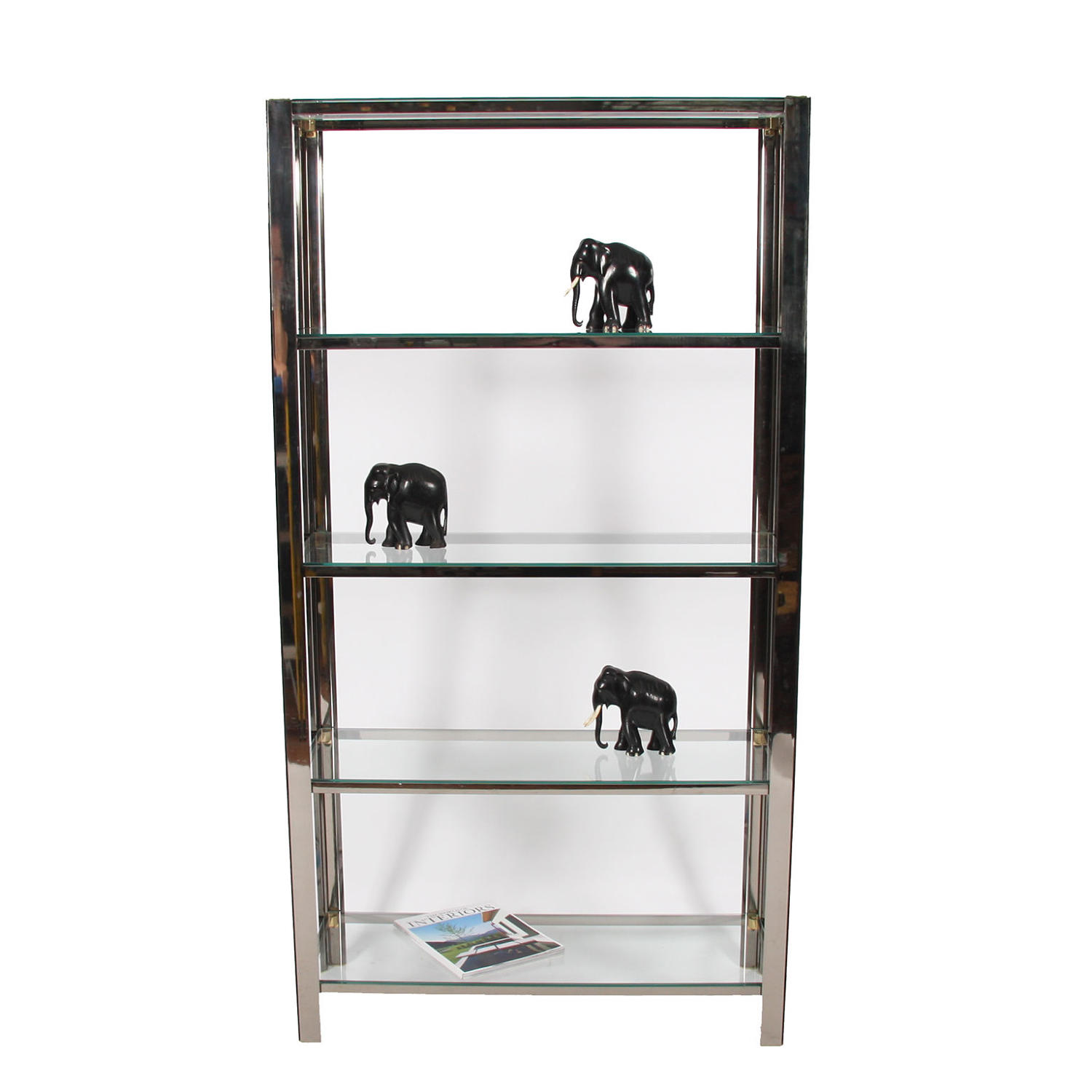 Chromed Metal Bookcase with Glass Shelves