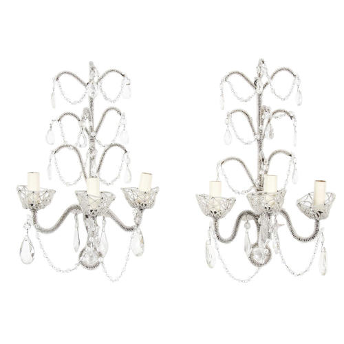 Pair of Bead Encrusted Wall Sconces