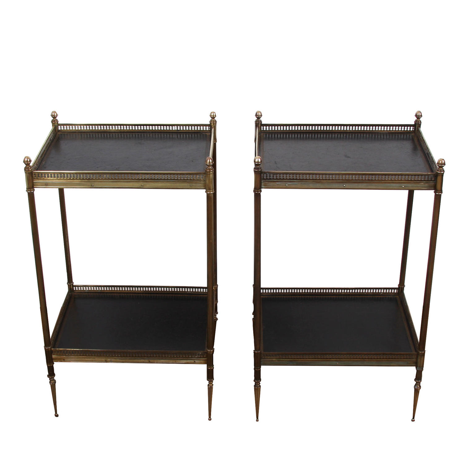 Pair of Two Tier Leather and Brass Side Tables