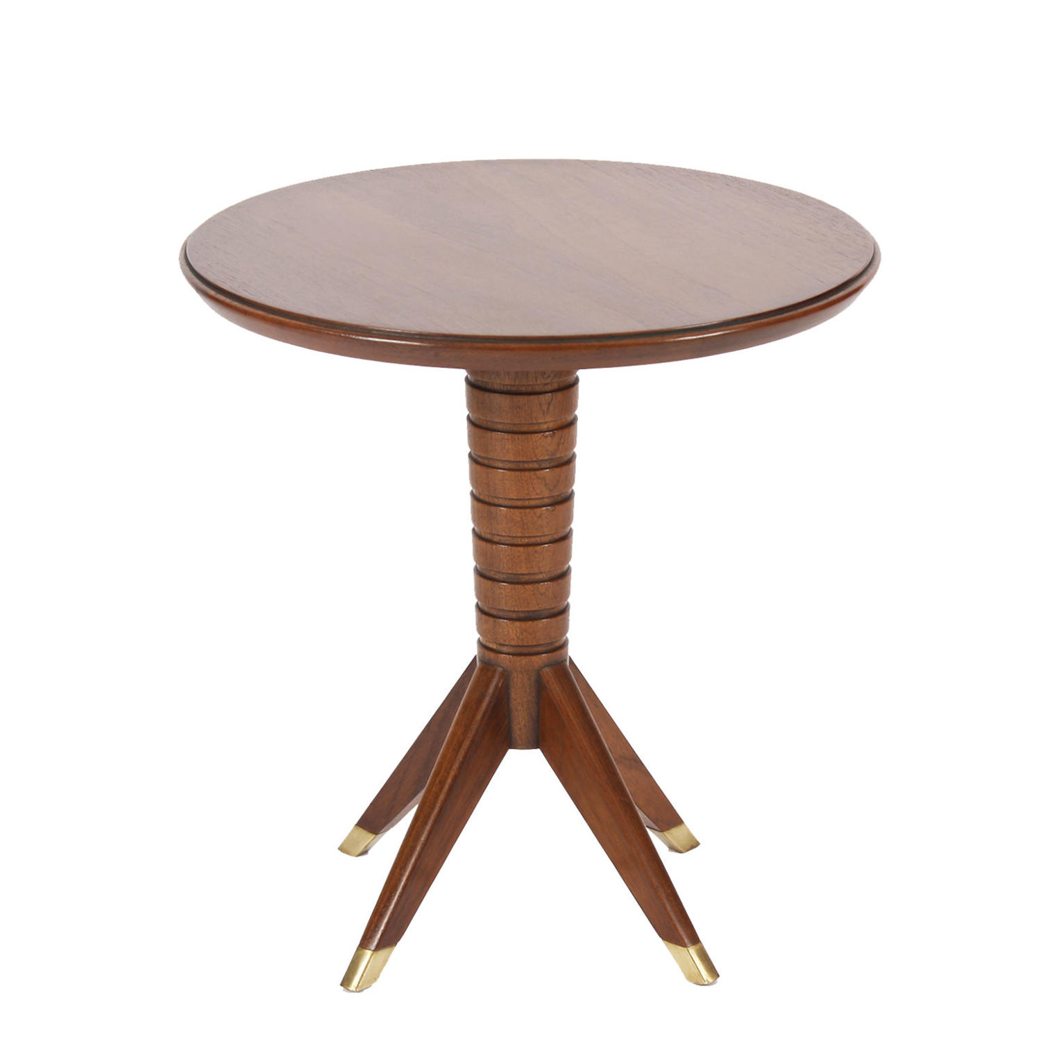 Low Mahogany Side Table with Brass Tips
