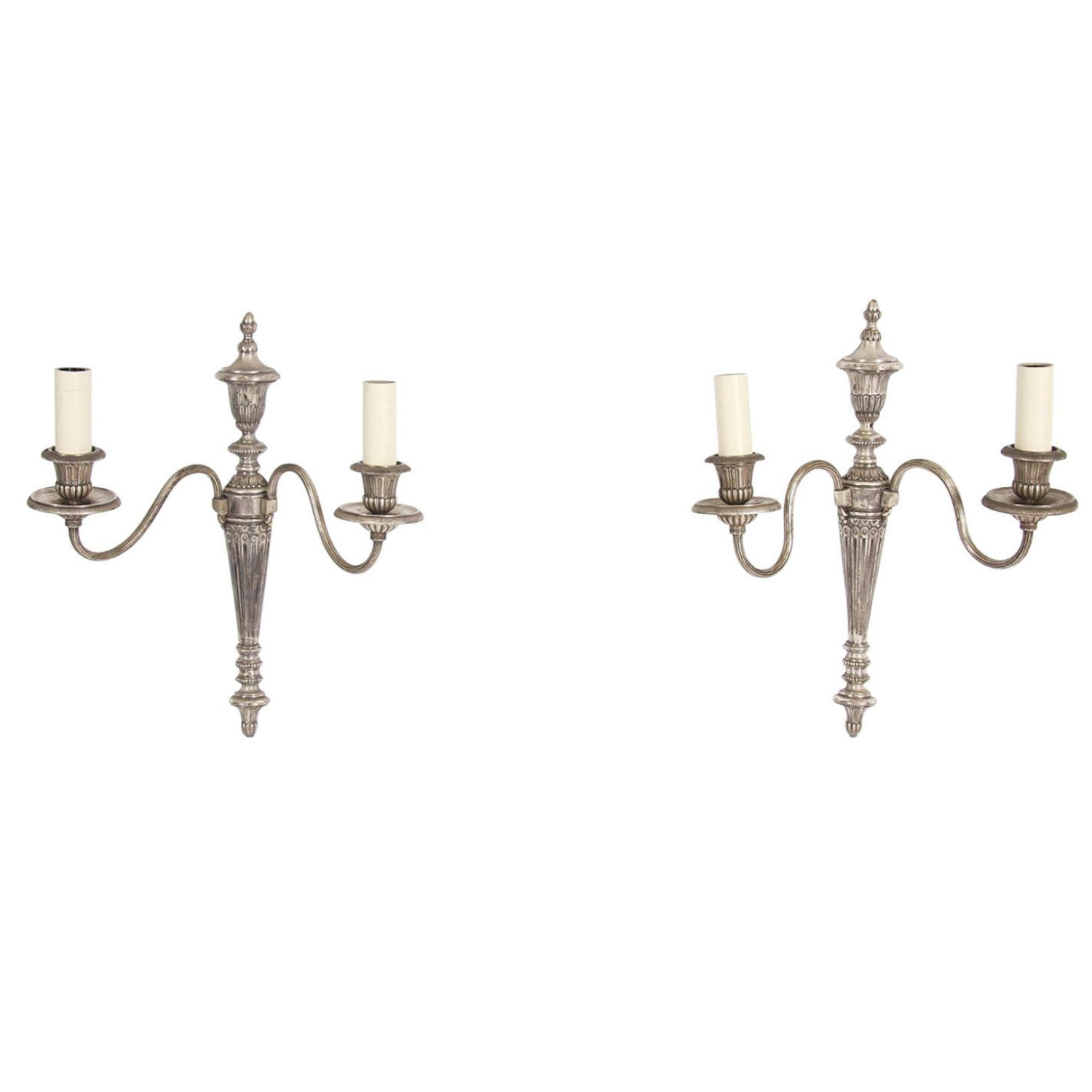 Pair of Silver Plated Wall Sconces
