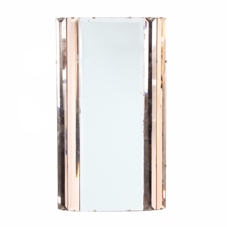 Art Deco Peach & Clear Glass Mirror