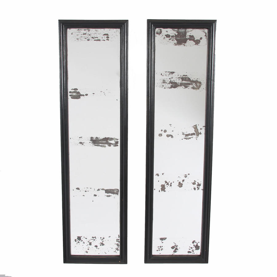 Set of Four Ebonised Shop Mirrors