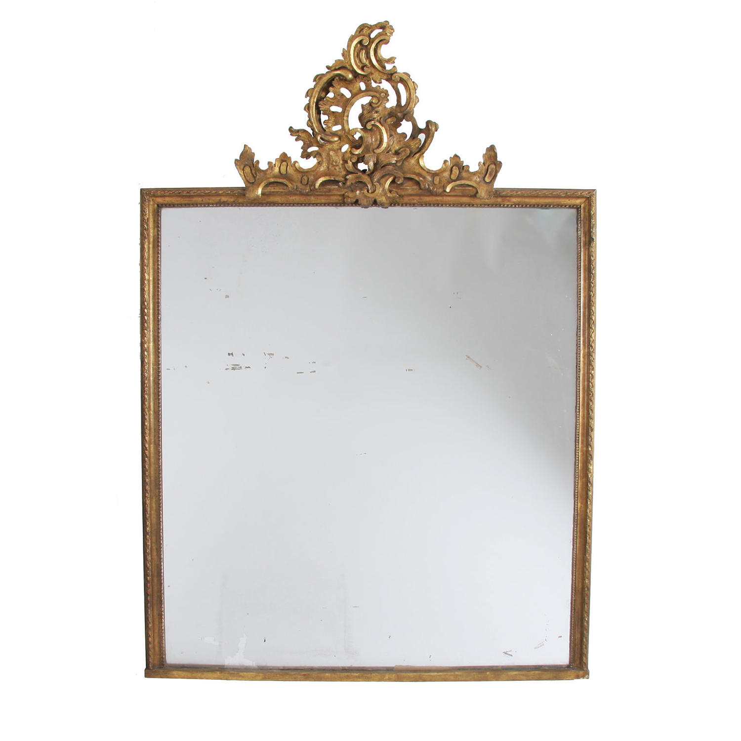 Giltwood Overmantle Mirror with Crest