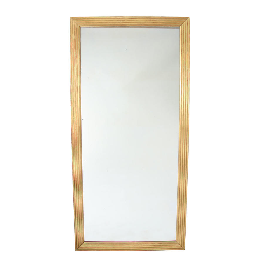 Large Giltwood Mirror with Reeded Frame