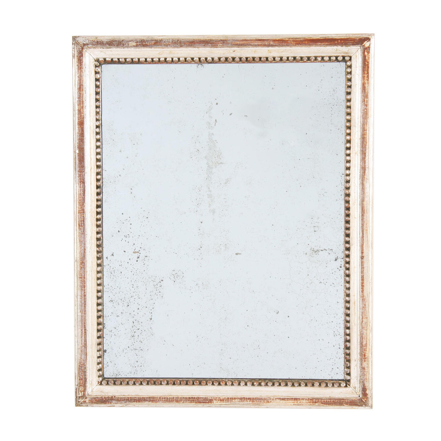 Faded Silver Leaf Mirror with Beaded Frame