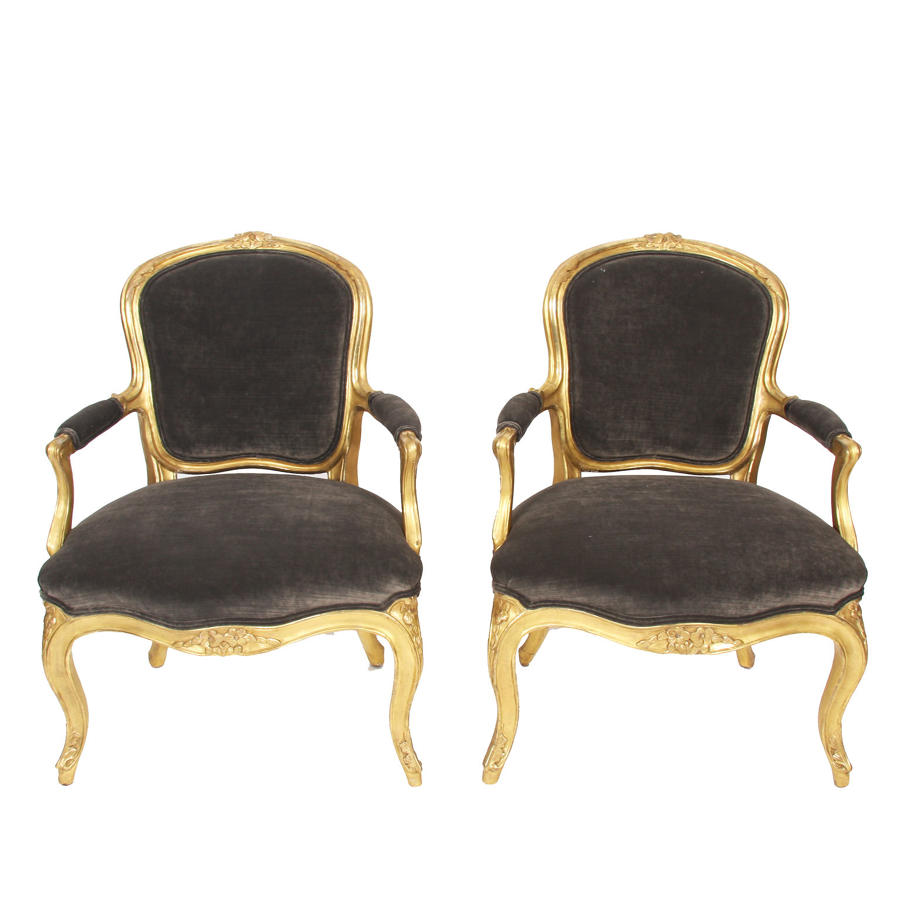 Pair of Grey Velvet & Giltwood Salon Chairs