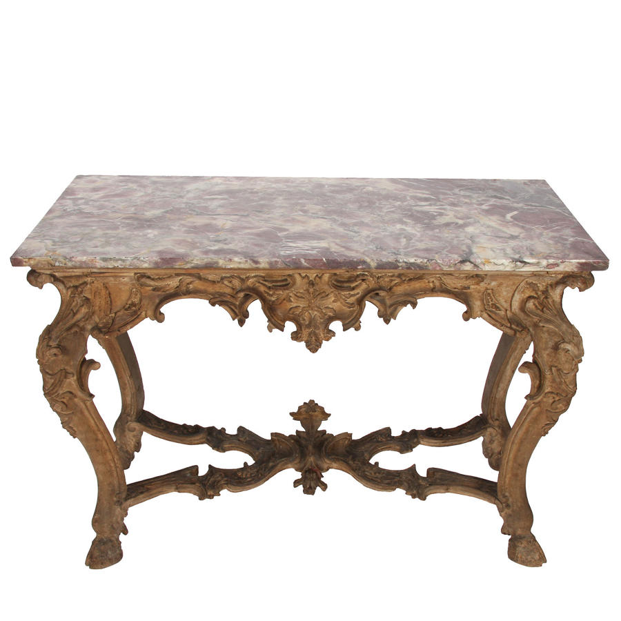 Marble Top Console Table with Hoof Feet
