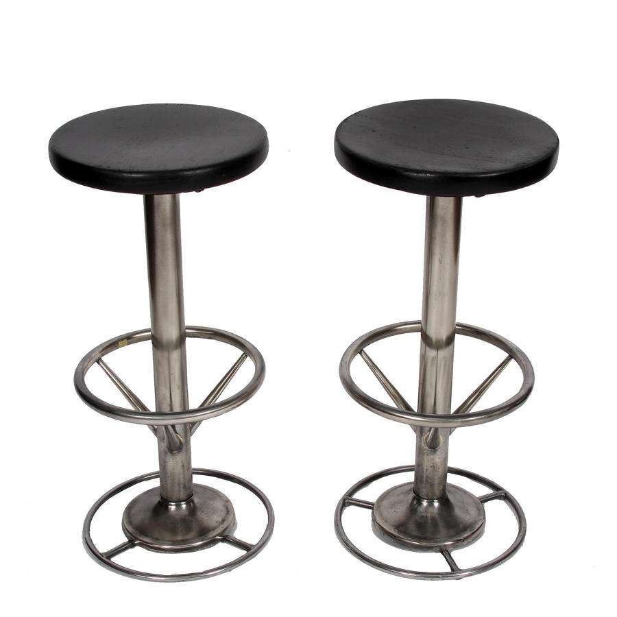Pair of Black Steel Bar Stools