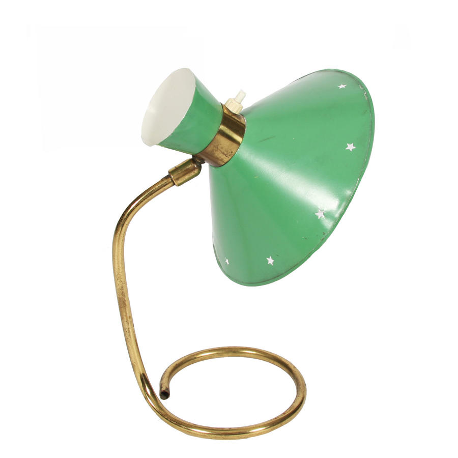 Small Green Desk Lamp by René Mathieu for Lunel