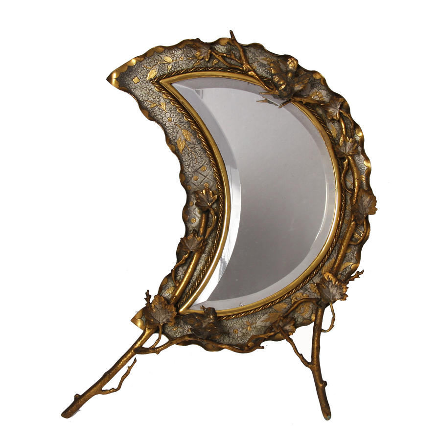 Brass Crescent Moon Table Top Mirror