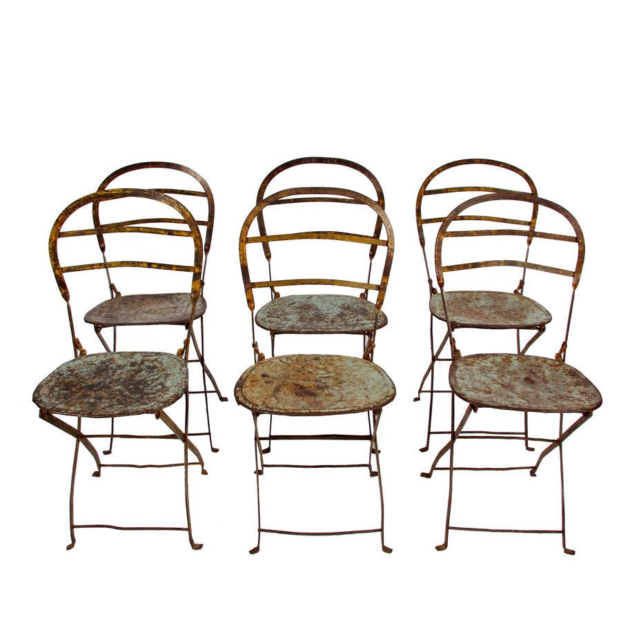 Set of Six Wrought Iron & Steel Folding Chairs