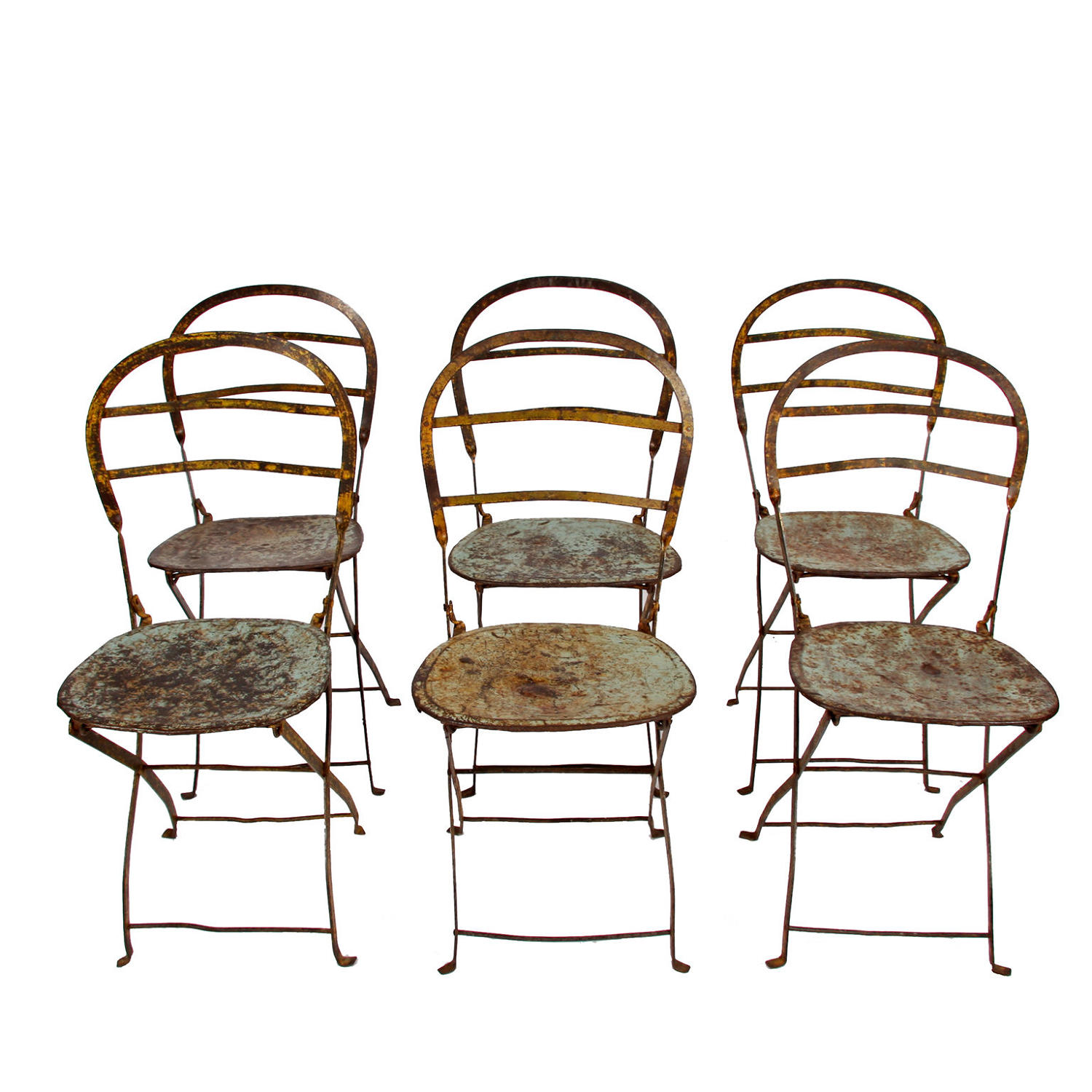 Set of Six Wrought Iron & Steel Folding Chairs