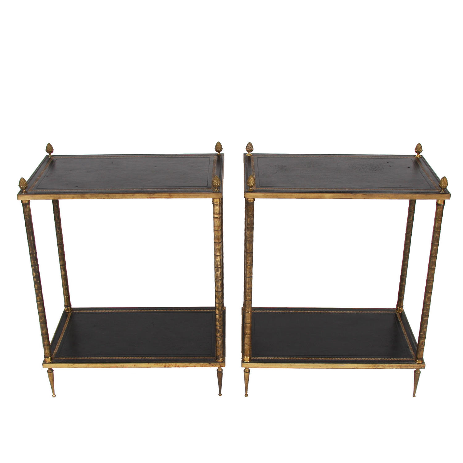 Pair of Two Tier Leather Top & Brass Side Tables