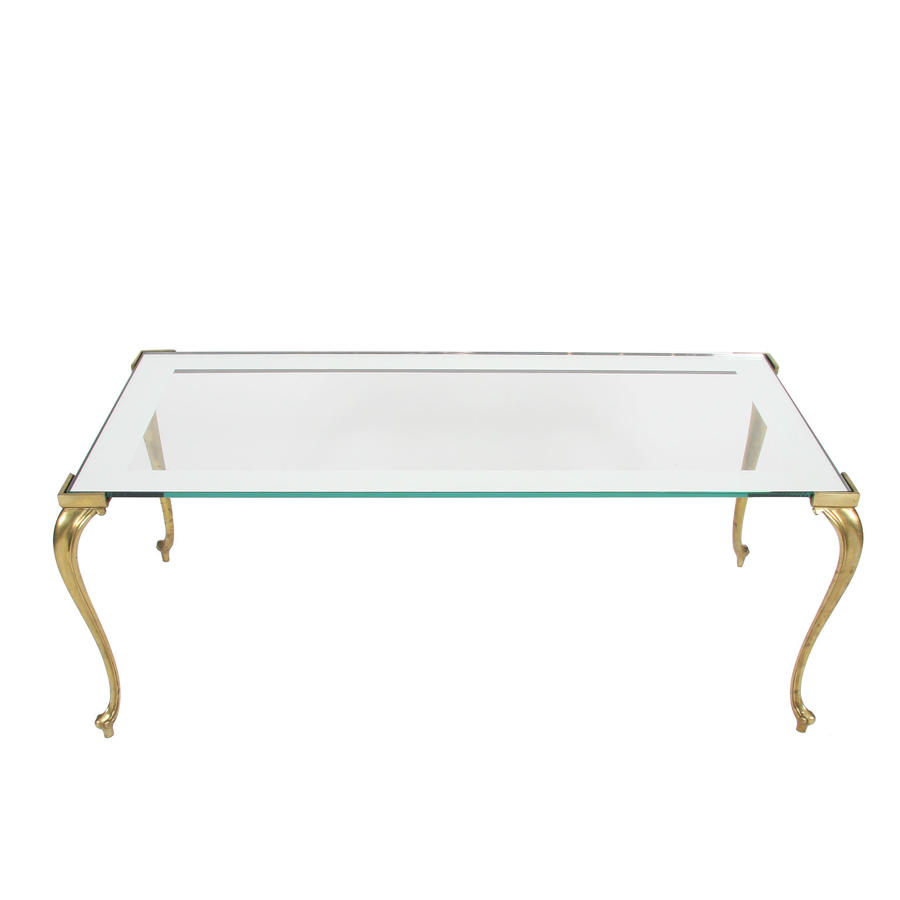 Brass Coffee Table with Glass Top & Mirrored Border