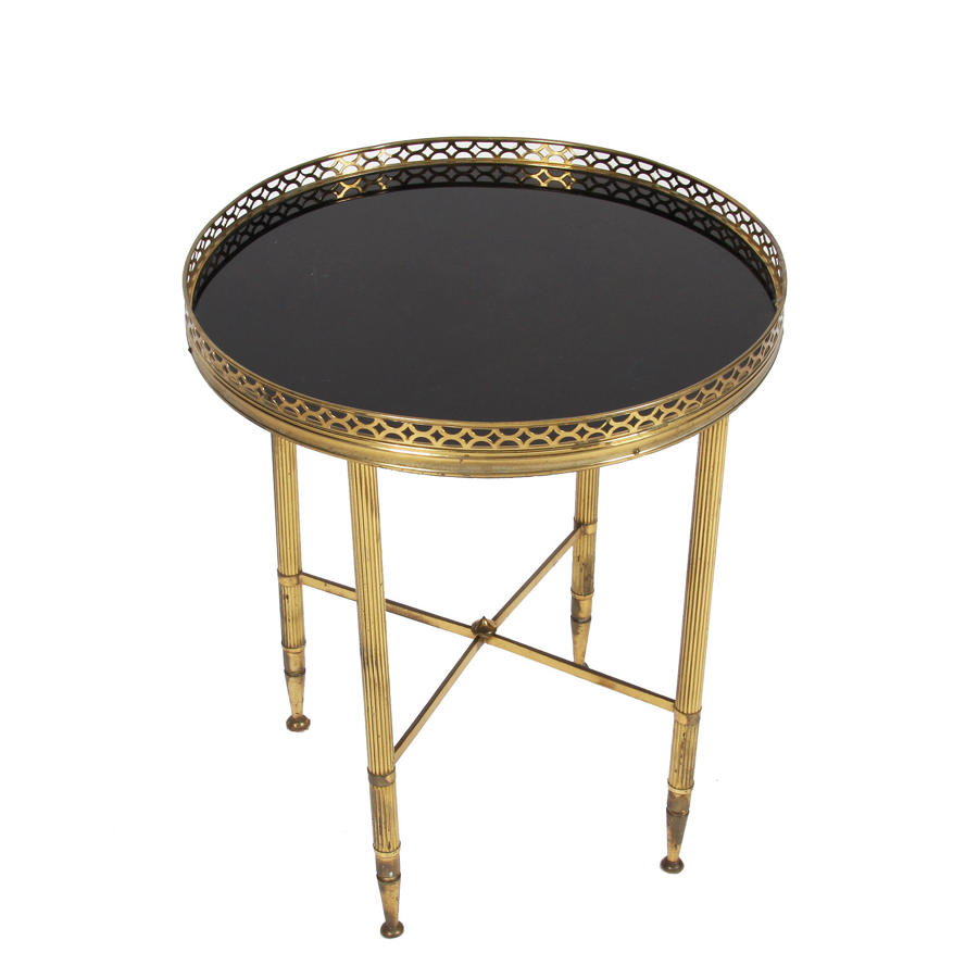 Brass Galleried Side Table with Black Glass
