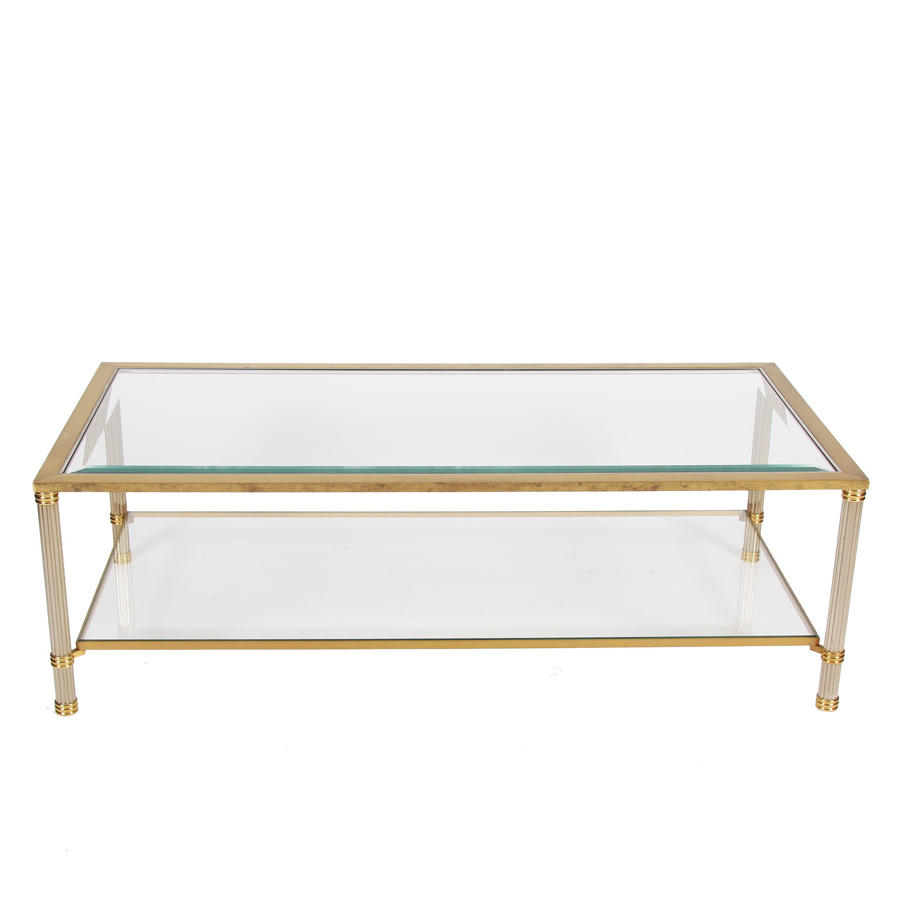 Two Tier Brass & Glass Coffee Table