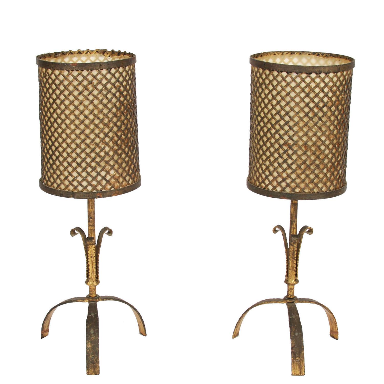 Pair of Gilt Metal Table Lamps