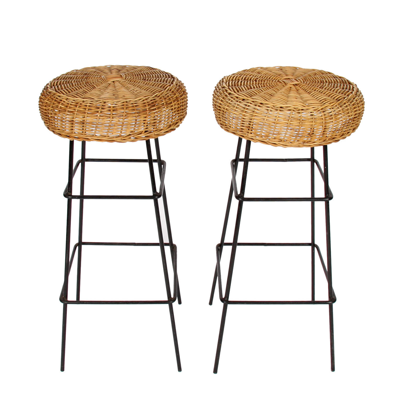 Pair of Wicker & Steel Stools