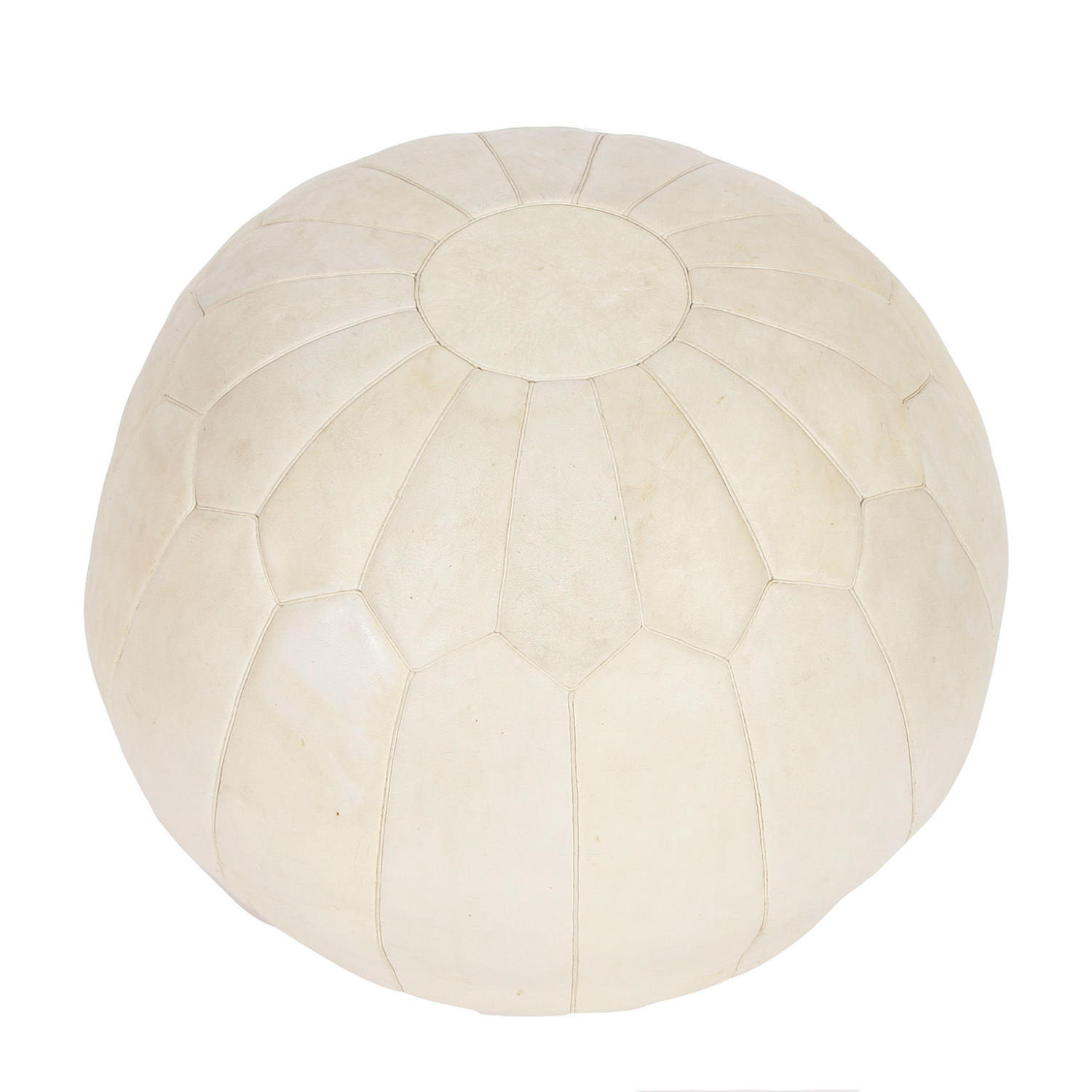 Cream Leather Pouffe