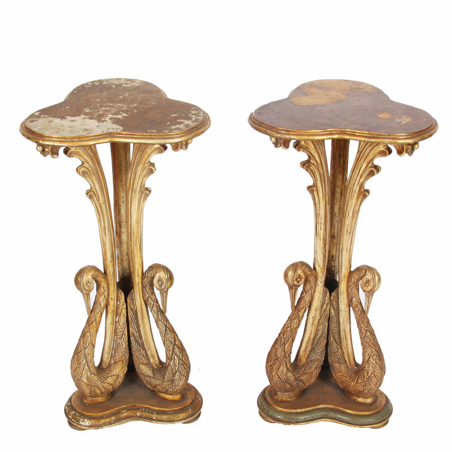 Pair of Carved Wood Swan Lamp Tables