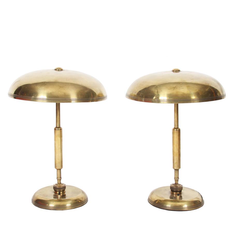 Pair of Brass Adjustable Desk Lamps