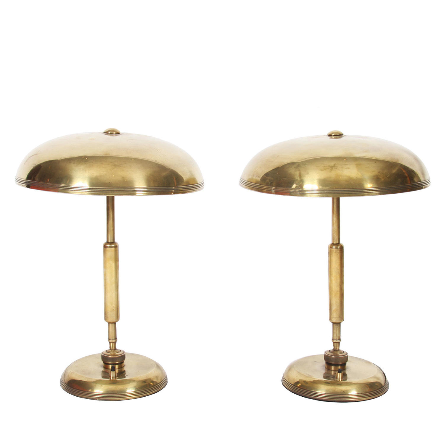 Pair of Brass Adjustable Desk Lamps